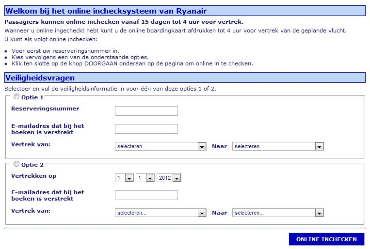 Ryanair inchecken