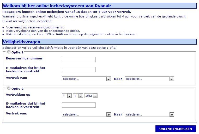 Online inchecken
