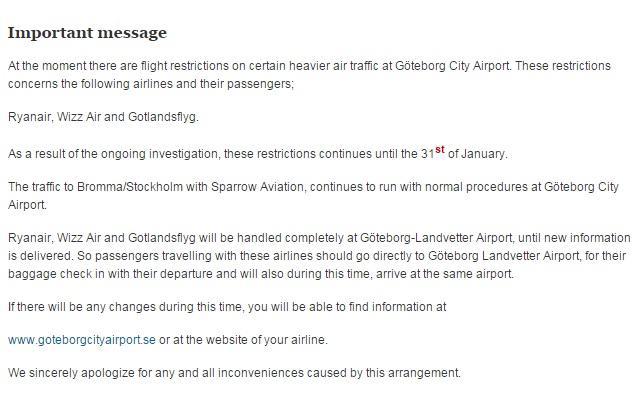 Aankondiging sluiting Göteborg City Airport