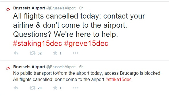 Brussels Airport staking Twitter
