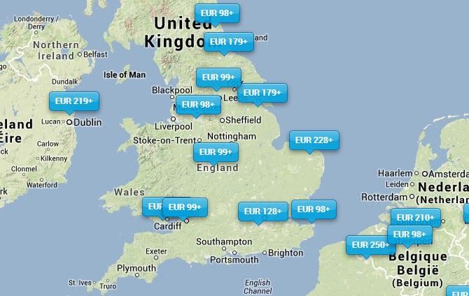 KLM bestemmingen Verenigd Koninkrijk