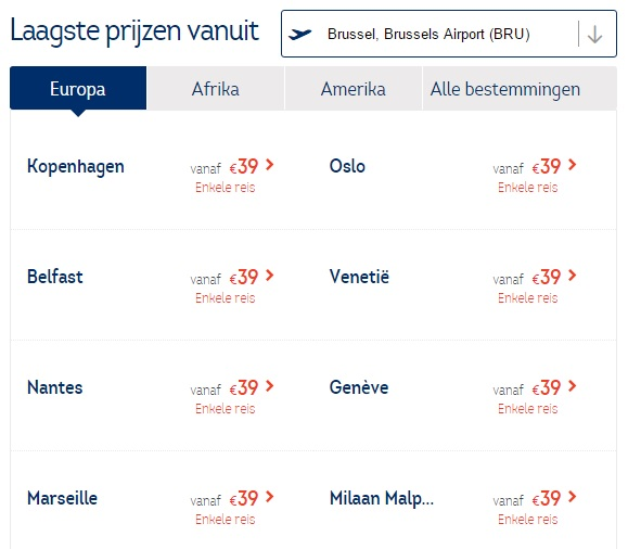 One-way tickets Brussels Airlines