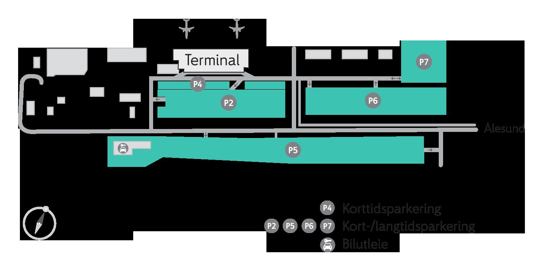 Plattegrond vliegveld luchthaven Ålesund