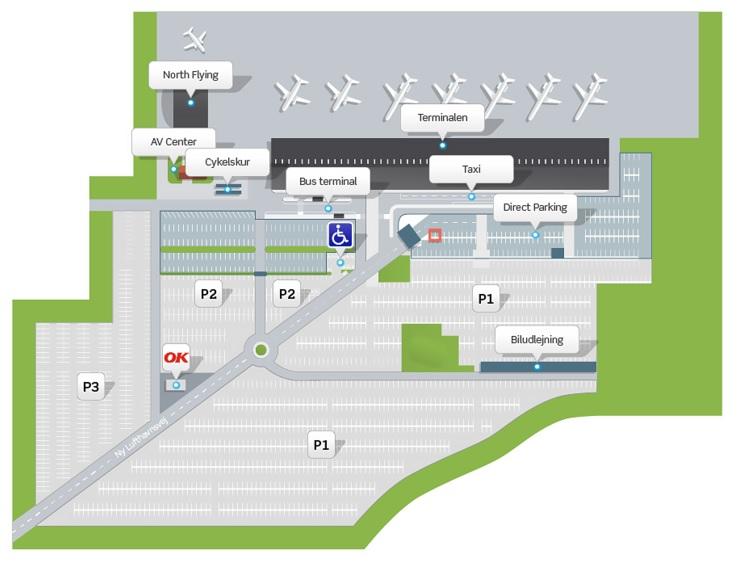 Plattegrond vliegveld luchthaven Aalborg