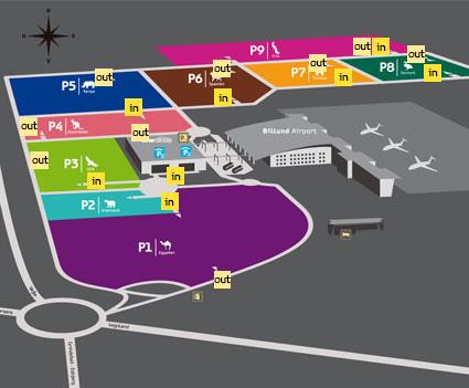 Plattegrond vliegveld luchthaven Billund