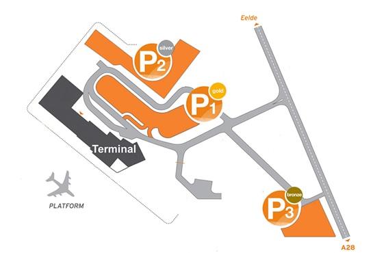 Plattegrond vliegveld luchthaven Groningen Eelde