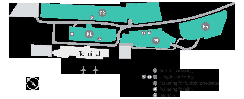 Plattegrond vliegveld luchthaven Haugesund