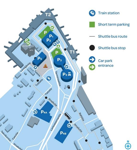 Plattegrond vliegveld luchthaven Helsinki Vantaa