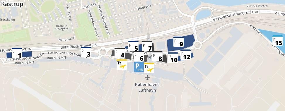 Plattegrond vliegveld luchthaven Kopenhagen