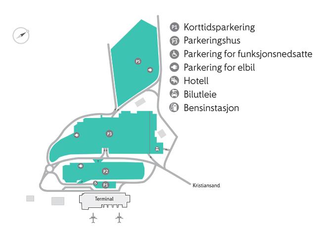 Plattegrond vliegveld luchthaven Kristiansand