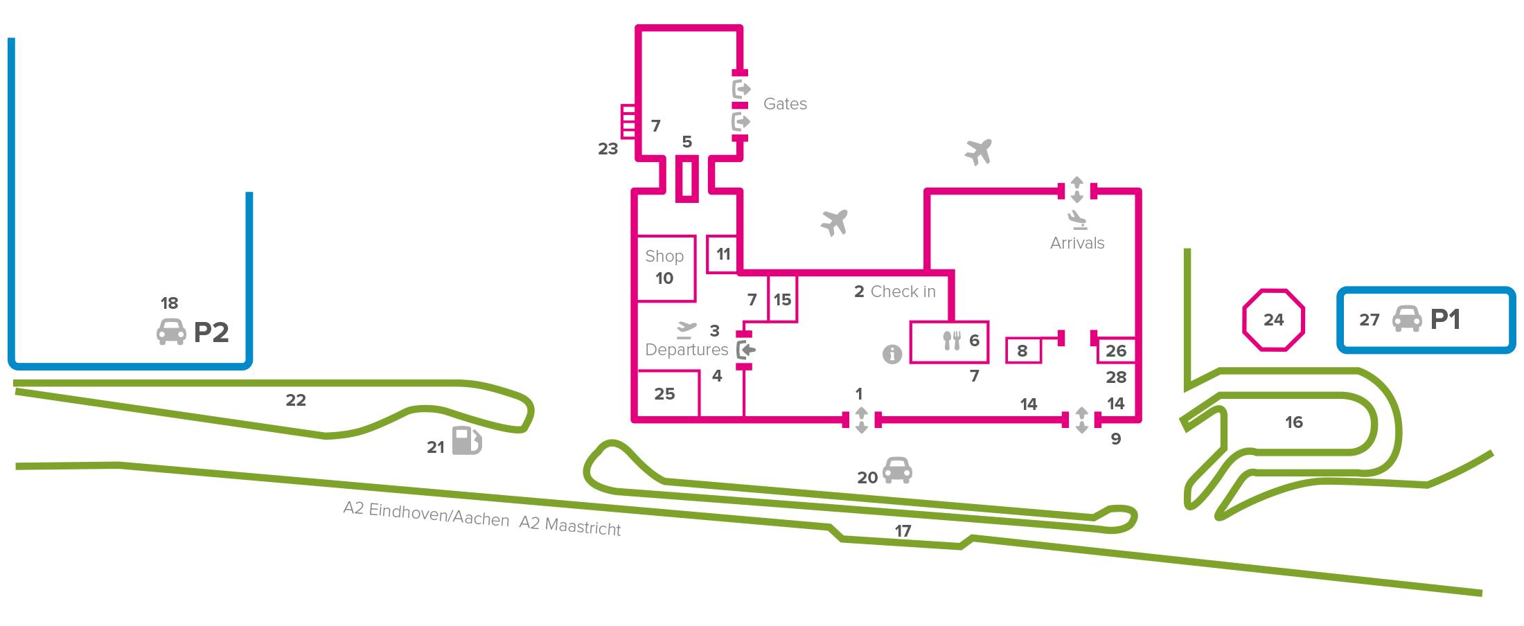 Plattegrond vliegveld luchthaven Maastricht Aachen