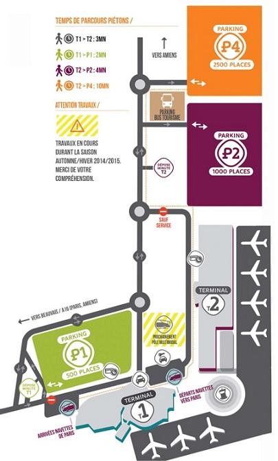 Plattegrond vliegveld luchthaven Parijs Beauvais