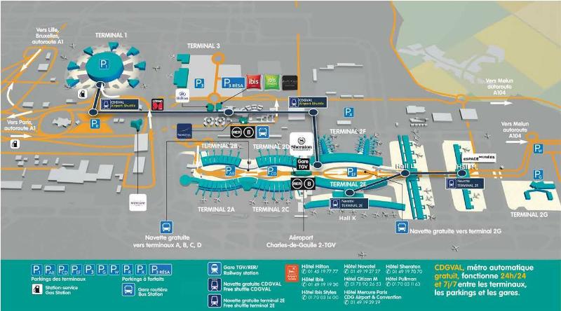 Plattegrond vliegveld luchthaven Parijs Charles de Gaulle
