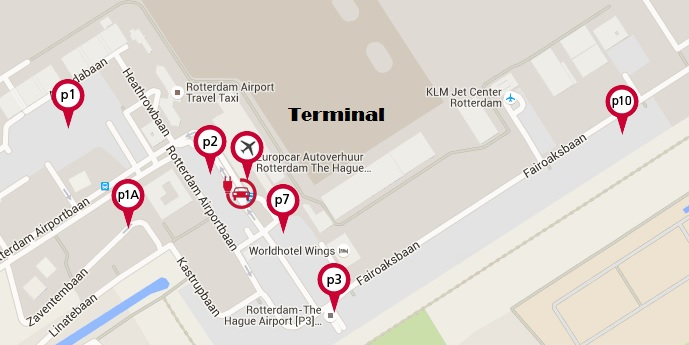 Plattegrond vliegveld luchthaven Rotterdam The Hague