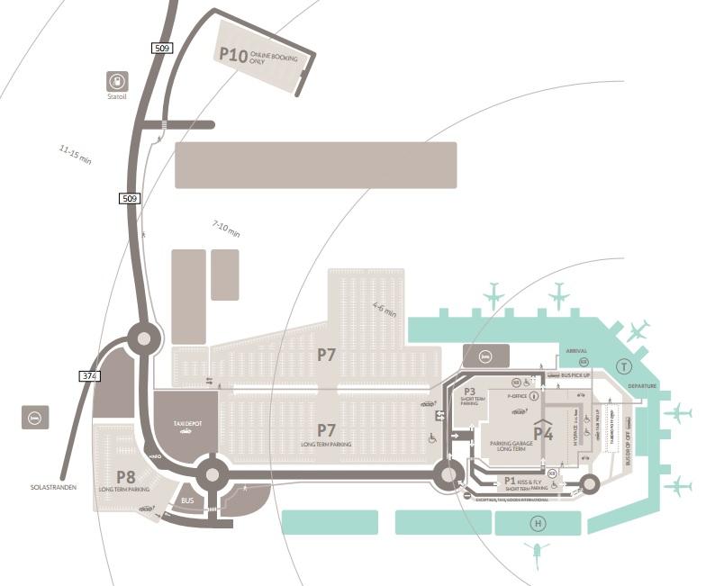 Plattegrond vliegveld luchthaven Stavanger