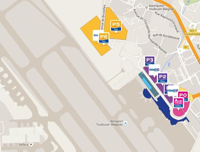 Plattegrond vliegveld luchthaven Toulouse Blagnac