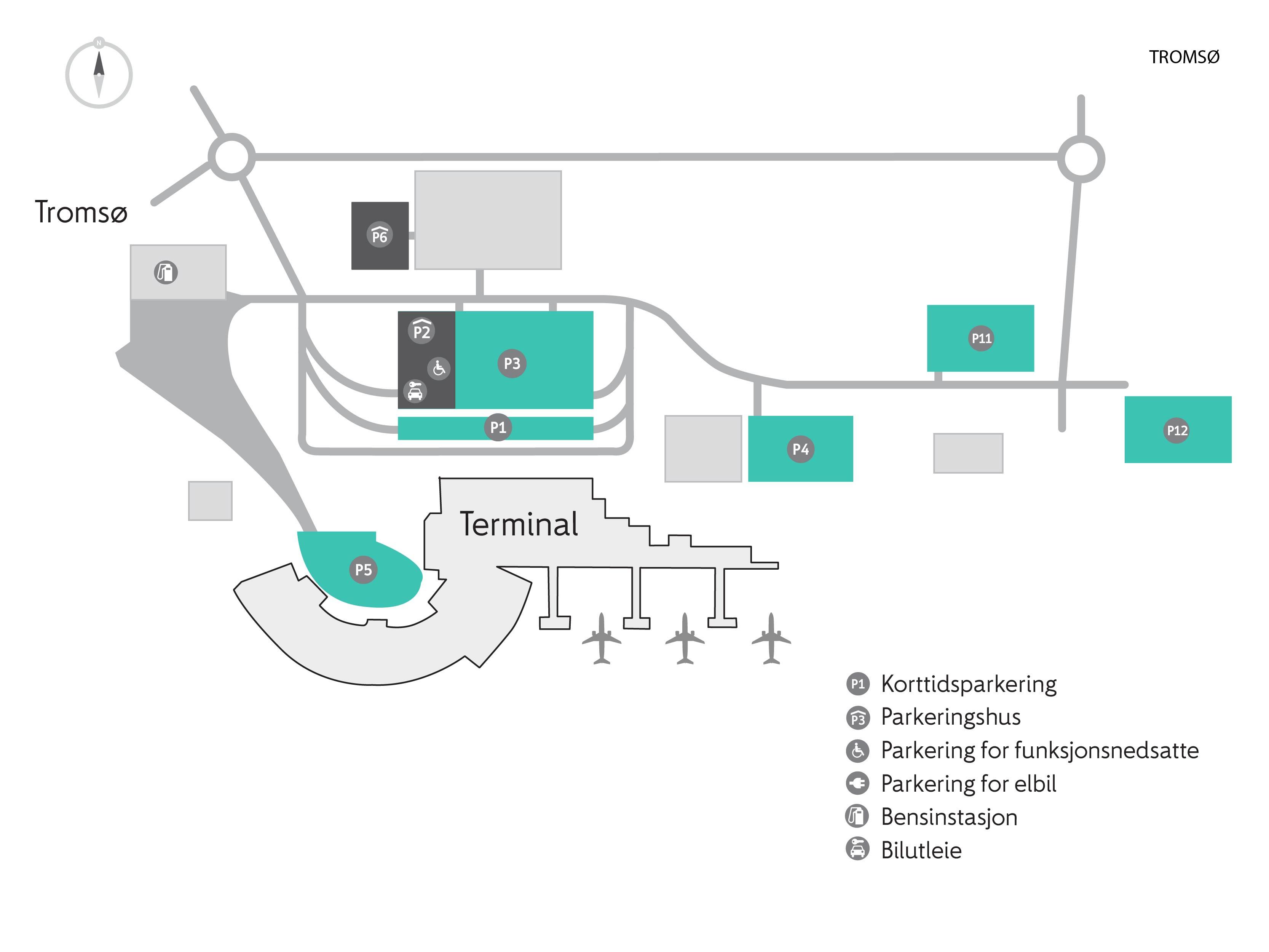 Plattegrond vliegveld luchthaven Tromsø