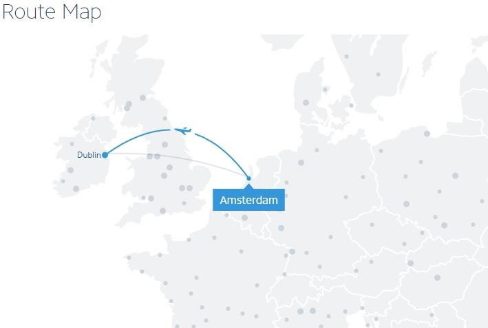 Route Map Ryanair Amsterdam - Dublin