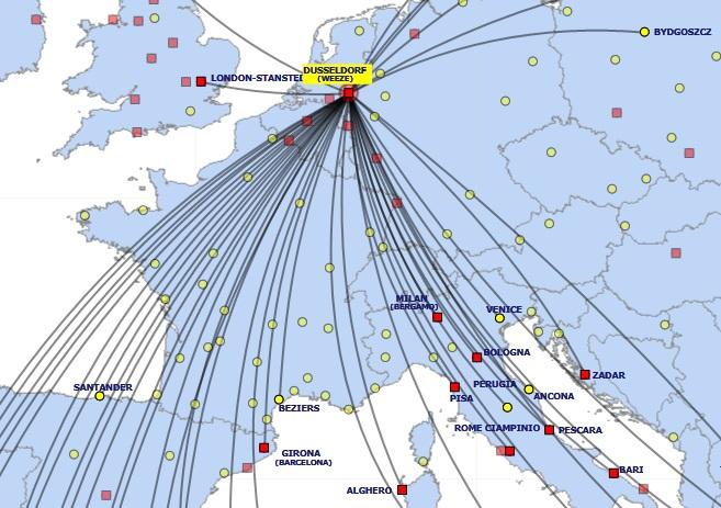 Ryanair bestemmingen Weeze Airport