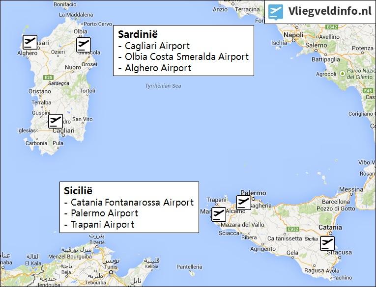 Vliegvelden op Sicilië en Sardinië